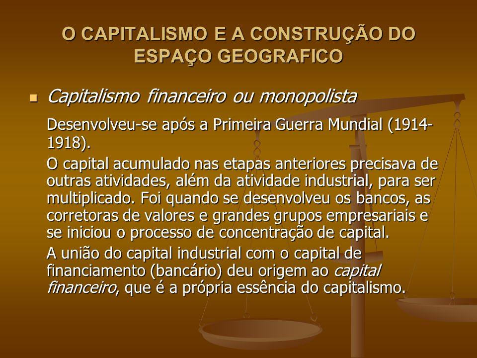 O CAPITALISMO E A CONSTRUÇÃO DO ESPAÇO GEOGRAFICO Capitalismo financeiro ou monopolista Capitalismo financeiro ou monopolista Desenvolveu-se após a Pr