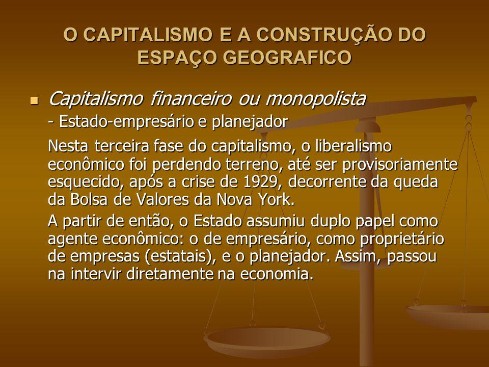 O CAPITALISMO E A CONSTRUÇÃO DO ESPAÇO GEOGRAFICO Capitalismo financeiro ou monopolista Capitalismo financeiro ou monopolista - Estado-empresário e pl