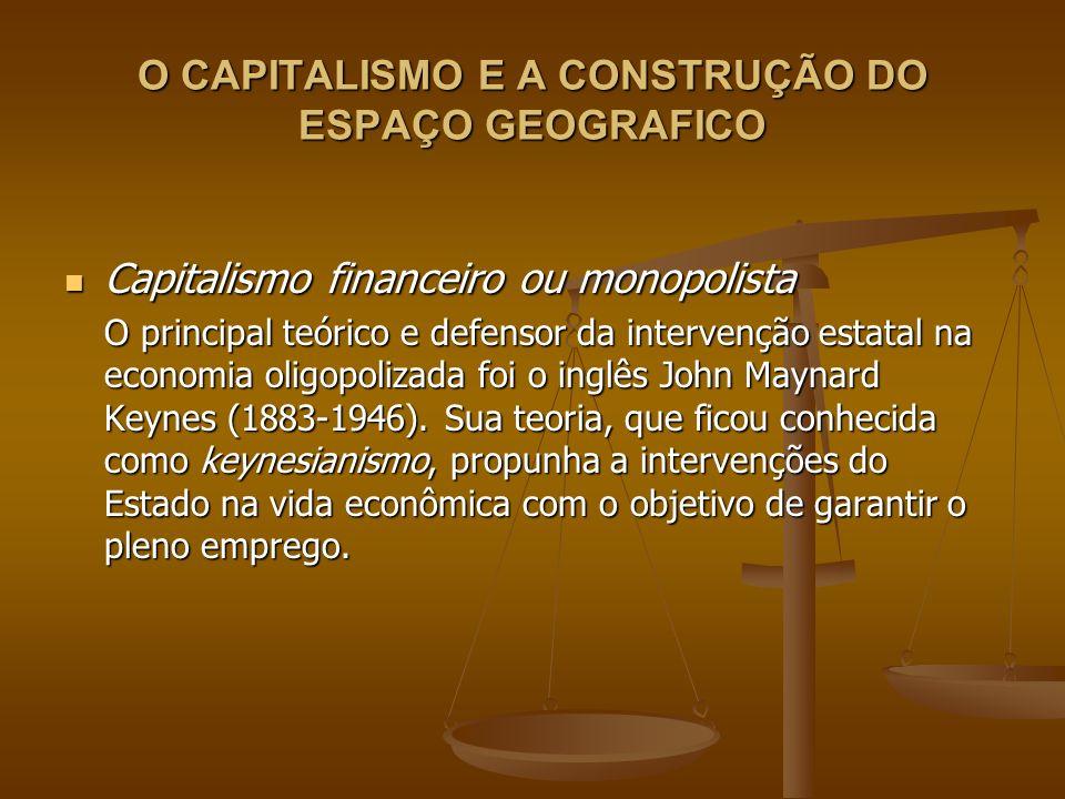 O CAPITALISMO E A CONSTRUÇÃO DO ESPAÇO GEOGRAFICO Capitalismo financeiro ou monopolista Capitalismo financeiro ou monopolista O principal teórico e de