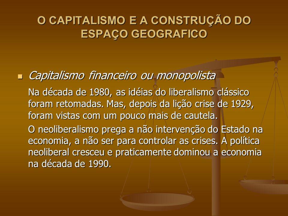 O CAPITALISMO E A CONSTRUÇÃO DO ESPAÇO GEOGRAFICO Capitalismo financeiro ou monopolista Capitalismo financeiro ou monopolista Na década de 1980, as id