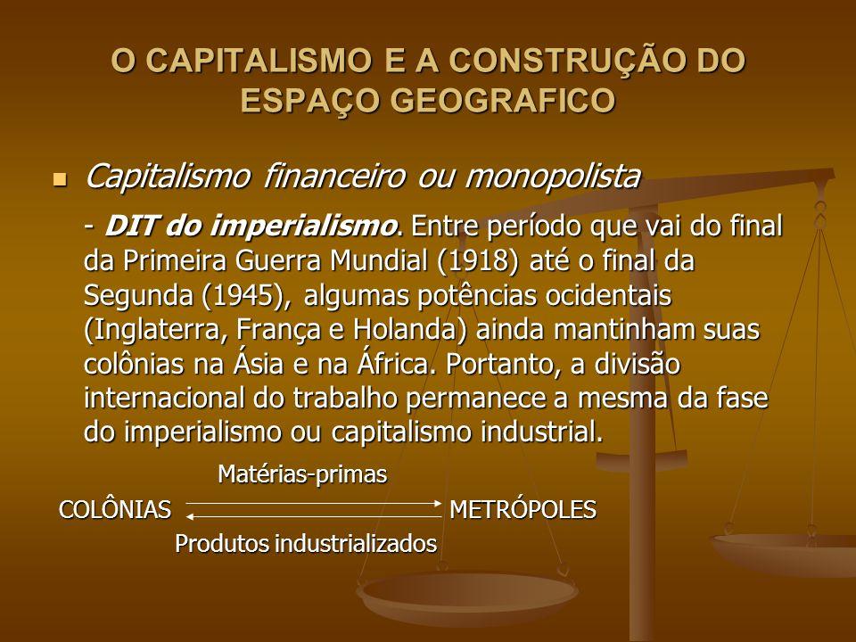 O CAPITALISMO E A CONSTRUÇÃO DO ESPAÇO GEOGRAFICO Capitalismo financeiro ou monopolista Capitalismo financeiro ou monopolista - DIT do imperialismo. E