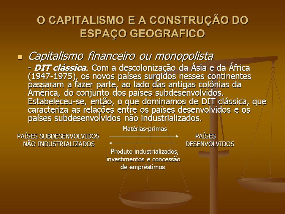 O CAPITALISMO E A CONSTRUÇÃO DO ESPAÇO GEOGRAFICO Capitalismo financeiro ou monopolista Capitalismo financeiro ou monopolista - DIT clássica. Com a de