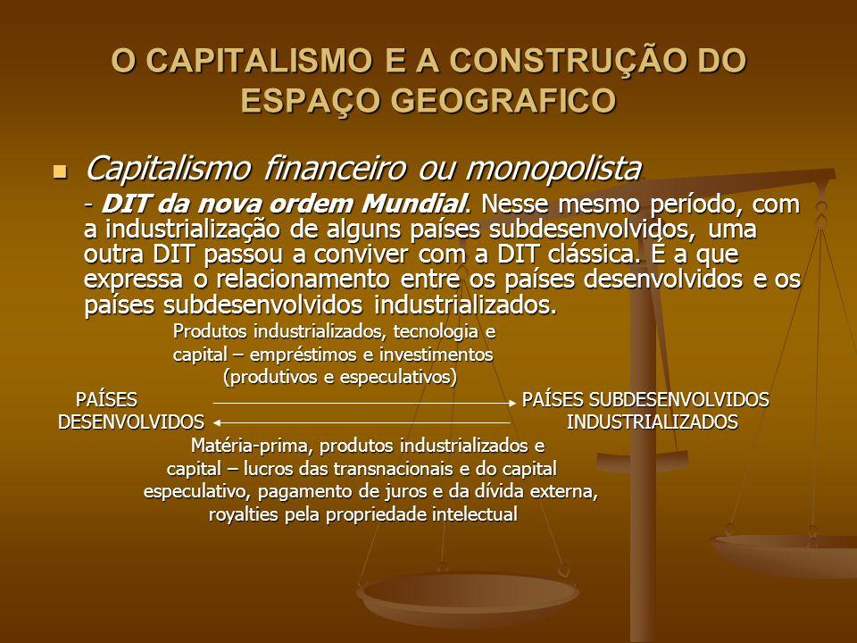 O CAPITALISMO E A CONSTRUÇÃO DO ESPAÇO GEOGRAFICO Capitalismo financeiro ou monopolista Capitalismo financeiro ou monopolista - DIT da nova ordem Mund