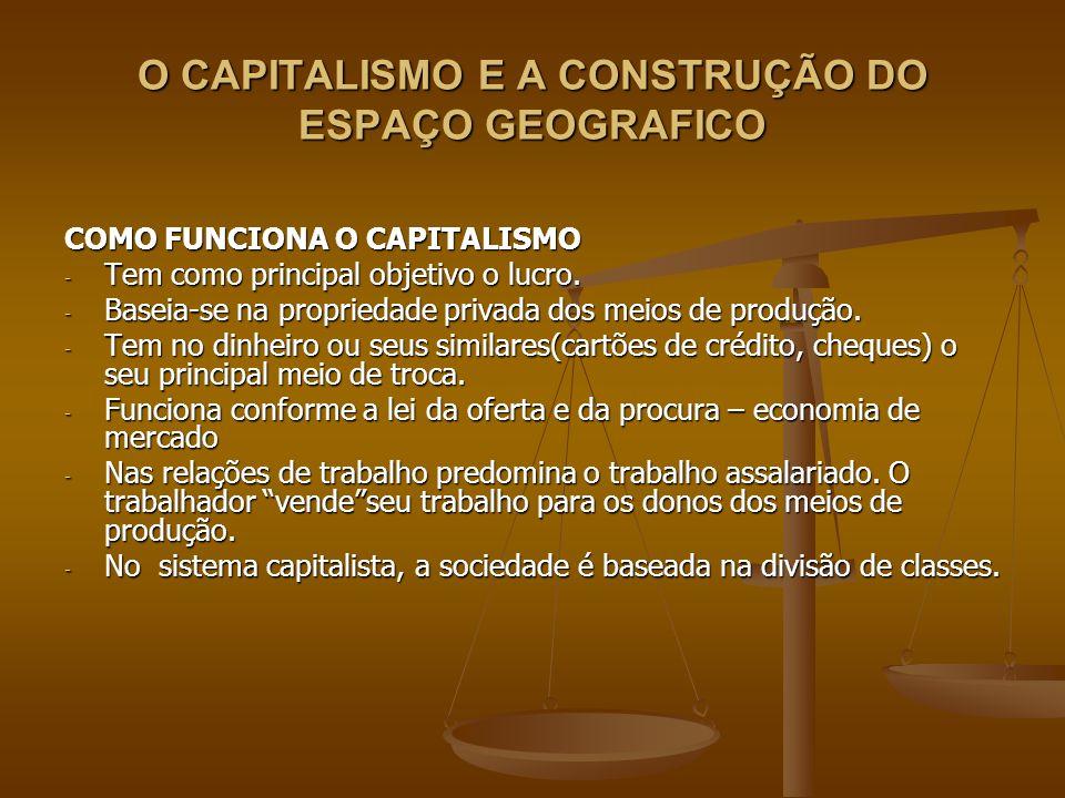 O CAPITALISMO E A CONSTRUÇÃO DO ESPAÇO GEOGRAFICO COMO FUNCIONA O CAPITALISMO - Tem como principal objetivo o lucro. - Baseia-se na propriedade privad