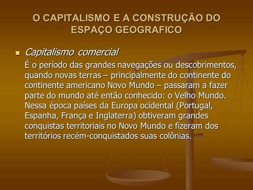 O CAPITALISMO E A CONSTRUÇÃO DO ESPAÇO GEOGRAFICO Capitalismo comercial Capitalismo comercial As regras das relações entre as metrópoles e colônias foram estabelecidas pelo Pacto Colonial, segundo o qual a colônia só podia manter relações comerciais com a metrópole.
