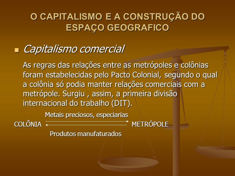 O CAPITALISMO E A CONSTRUÇÃO DO ESPAÇO GEOGRAFICO Capitalismo comercial Capitalismo comercial Inspirados na teoria mercantilista, os países colonizadores, através do comercio com suas colônias, geraram acúmulo de capital, que permitiu o desenvolvimento do que muitos consideram o inicio do verdadeiro capitalismo, isto é, a sua fase industrial.