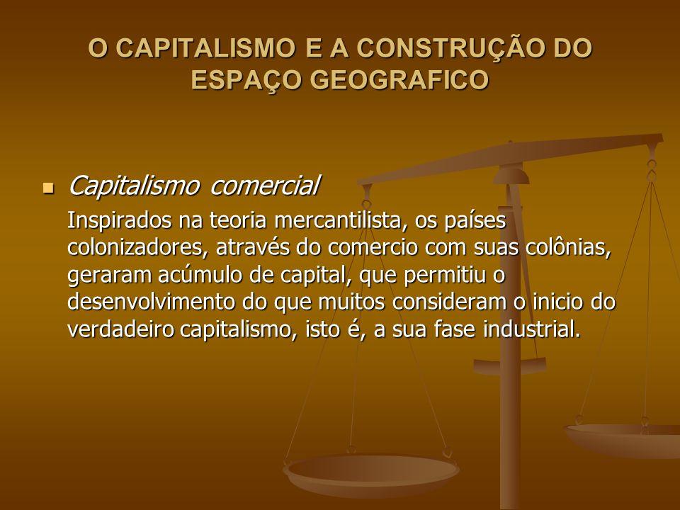 O CAPITALISMO E A CONSTRUÇÃO DO ESPAÇO GEOGRAFICO Capitalismo comercial Capitalismo comercial Inspirados na teoria mercantilista, os países colonizado