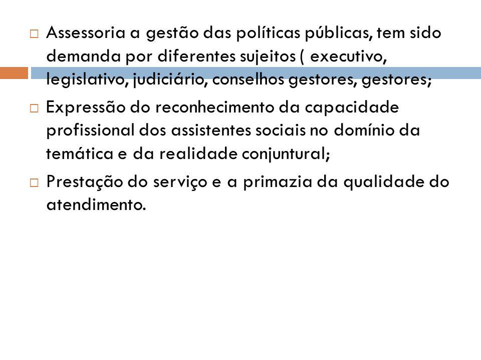 Assessoria a gestão das políticas públicas, tem sido demanda por diferentes sujeitos ( executivo, legislativo, judiciário, conselhos gestores, gestore