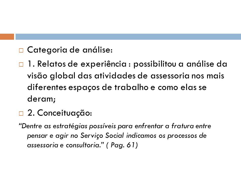 Categoria de análise: 1. Relatos de experiência : possibilitou a análise da visão global das atividades de assessoria nos mais diferentes espaços de t