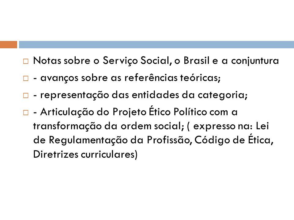 Notas sobre o Serviço Social, o Brasil e a conjuntura - avanços sobre as referências teóricas; - representação das entidades da categoria; - Articulaç