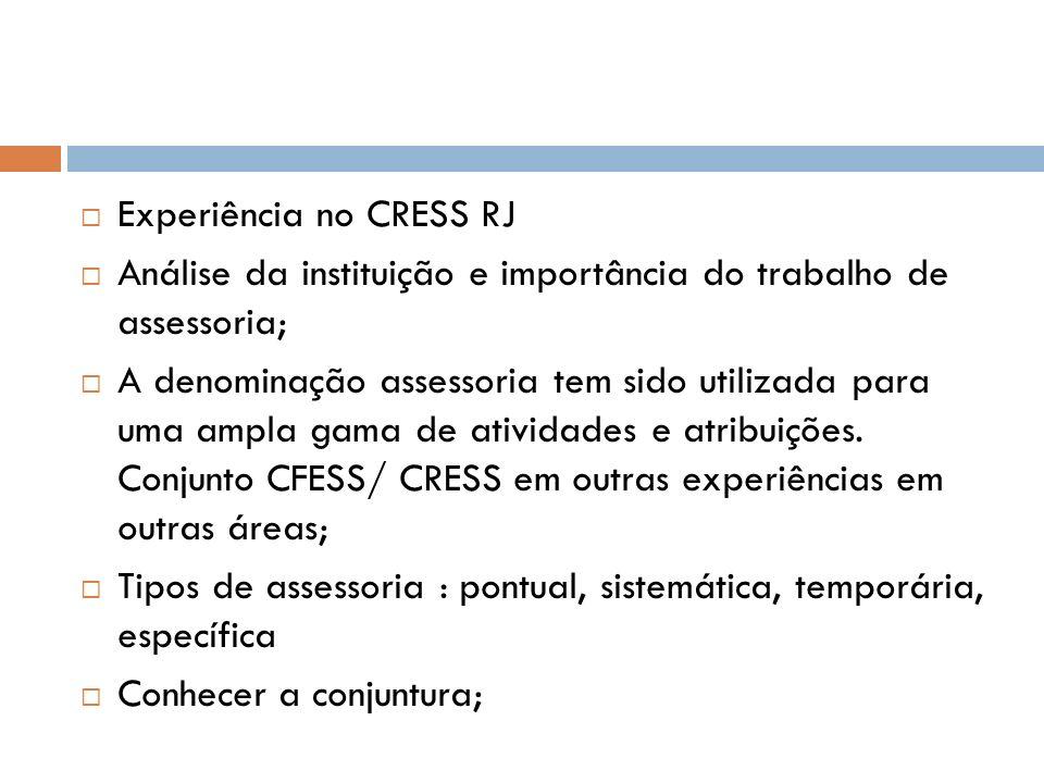 Experiência no CRESS RJ Análise da instituição e importância do trabalho de assessoria; A denominação assessoria tem sido utilizada para uma ampla gam