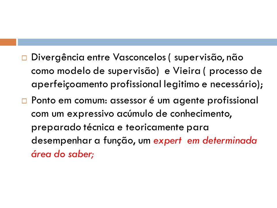 Divergência entre Vasconcelos ( supervisão, não como modelo de supervisão) e Vieira ( processo de aperfeiçoamento profissional legitimo e necessário);
