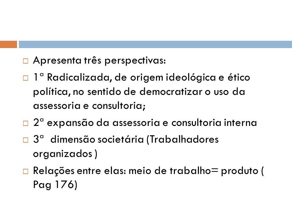 Apresenta três perspectivas: 1ª Radicalizada, de origem ideológica e ético política, no sentido de democratizar o uso da assessoria e consultoria; 2ª