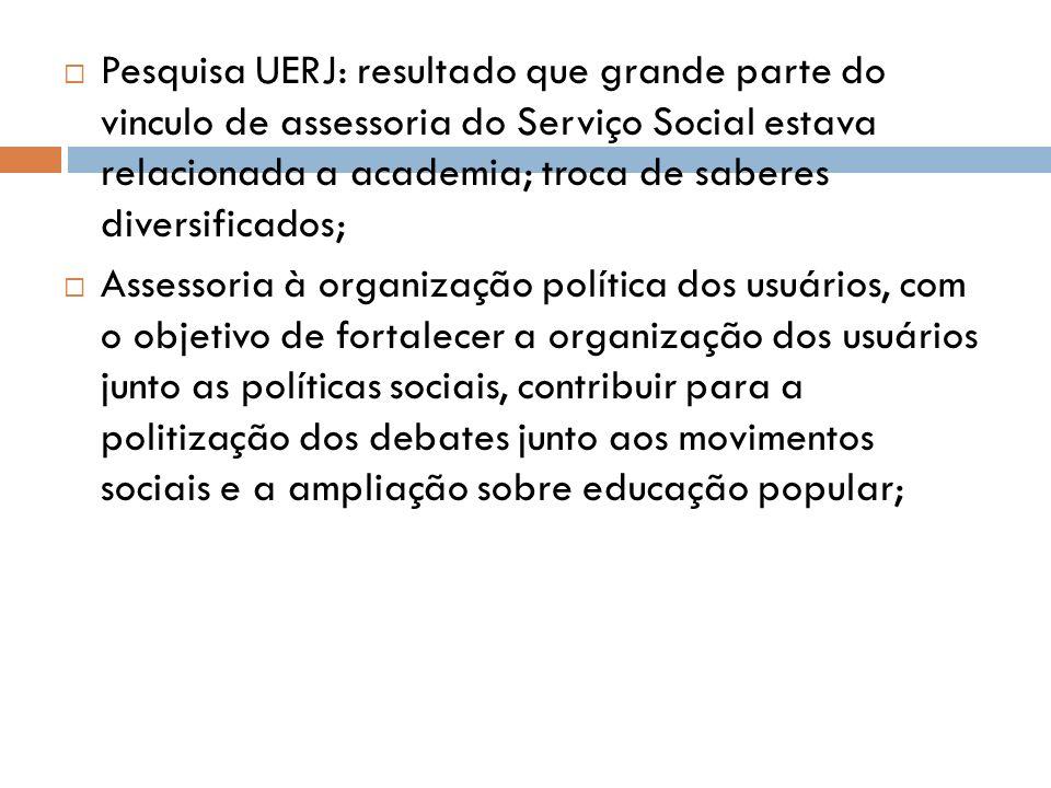 Pesquisa UERJ: resultado que grande parte do vinculo de assessoria do Serviço Social estava relacionada a academia; troca de saberes diversificados; A