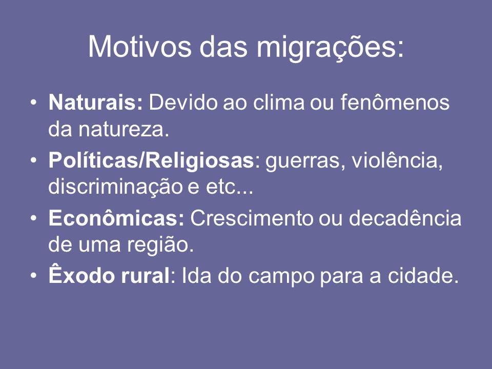 Migração sazonal/transumância : Movimento temporário e que o migrante retorna ao local de origem, se relaciona com a mudança do tempo.
