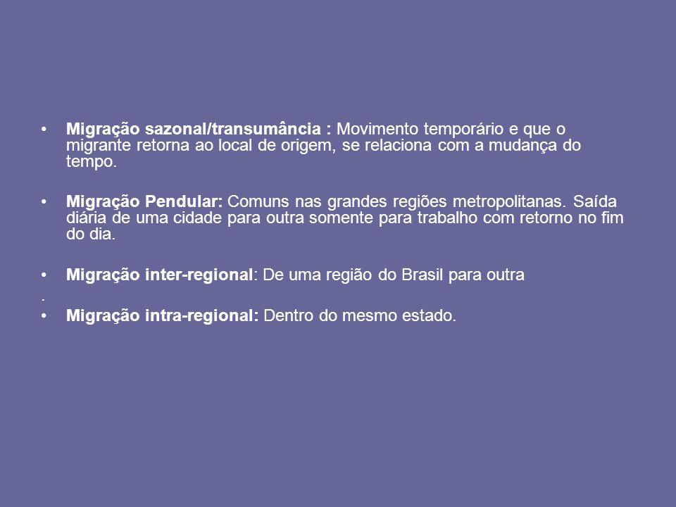 Fluxos migratórios do Brasil Os principais fluxos migratórios do Brasil internos são originários do êxodo rural, as pessoas saem do campo ( área rural) em direção as cidades ( área urbana), na expectativa de que essas cidades possam melhor atender às suas necessidades de sobrevivência.