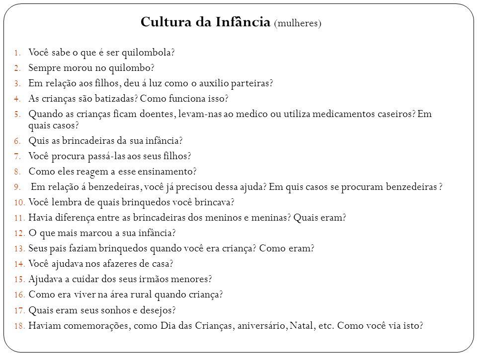 Cultura da Infância (mulheres) 1. Você sabe o que é ser quilombola? 2. Sempre morou no quilombo? 3. Em relação aos filhos, deu á luz como o auxilio pa