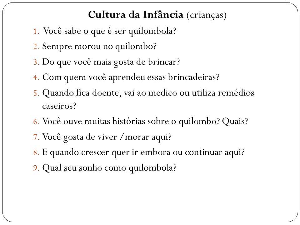 Cultura da Infância (crianças) 1. Você sabe o que é ser quilombola? 2. Sempre morou no quilombo? 3. Do que você mais gosta de brincar? 4. Com quem voc