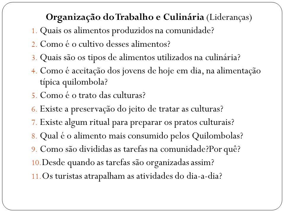 Organização do Trabalho e Culinária (Lideranças) 1. Quais os alimentos produzidos na comunidade? 2. Como é o cultivo desses alimentos? 3. Quais são os