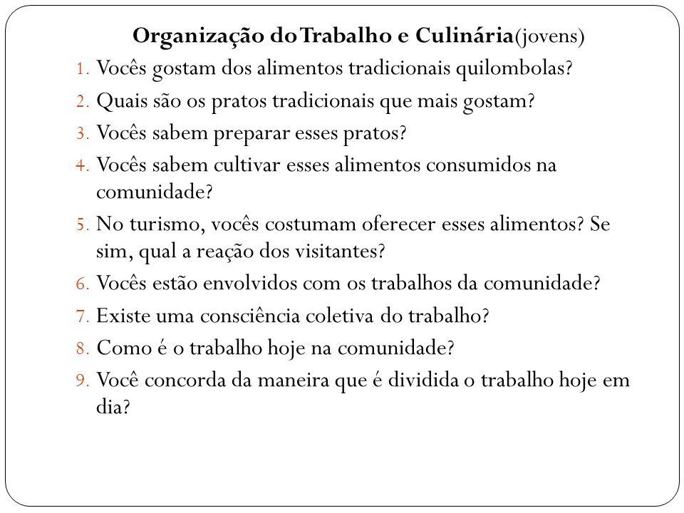 Organização do Trabalho e Culinária(jovens) 1. Vocês gostam dos alimentos tradicionais quilombolas? 2. Quais são os pratos tradicionais que mais gosta