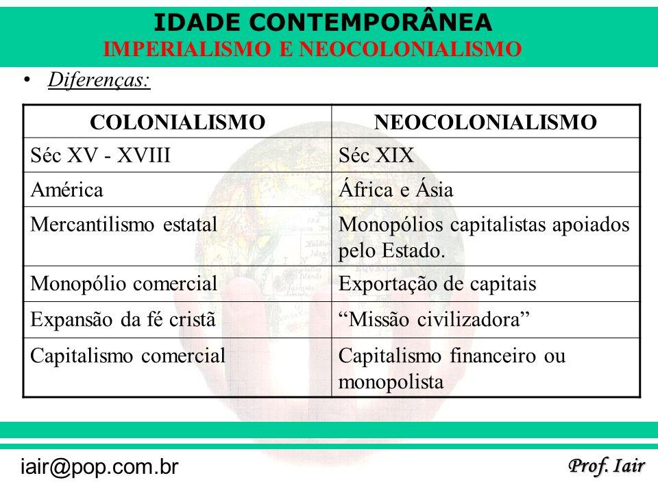 IDADE CONTEMPORÂNEA Prof. Iair iair@pop.com.br IMPERIALISMO E NEOCOLONIALISMO Diferenças: COLONIALISMONEOCOLONIALISMO Séc XV - XVIIISéc XIX AméricaÁfr