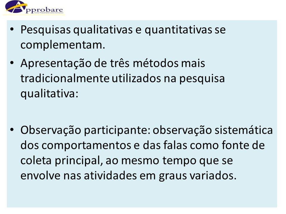 Pesquisas qualitativas e quantitativas se complementam. Apresentação de três métodos mais tradicionalmente utilizados na pesquisa qualitativa: Observa