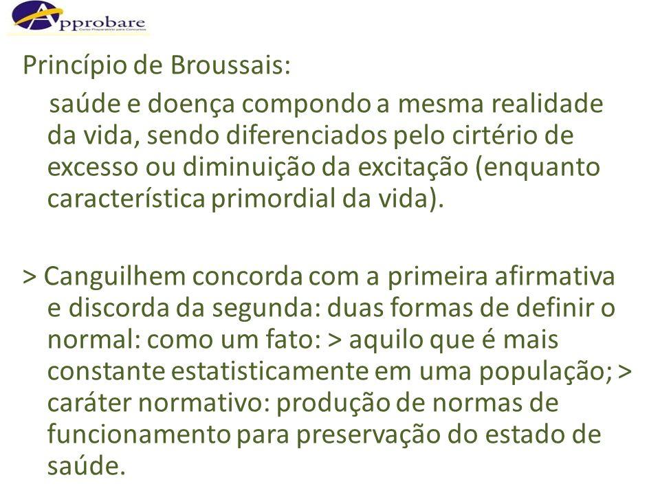 Princípio de Broussais: saúde e doença compondo a mesma realidade da vida, sendo diferenciados pelo cirtério de excesso ou diminuição da excitação (en