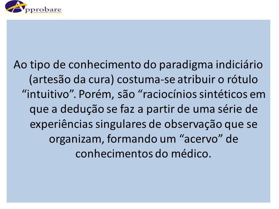 Ao tipo de conhecimento do paradigma indiciário (artesão da cura) costuma-se atribuir o rótulo intuitivo. Porém, são raciocínios sintéticos em que a d