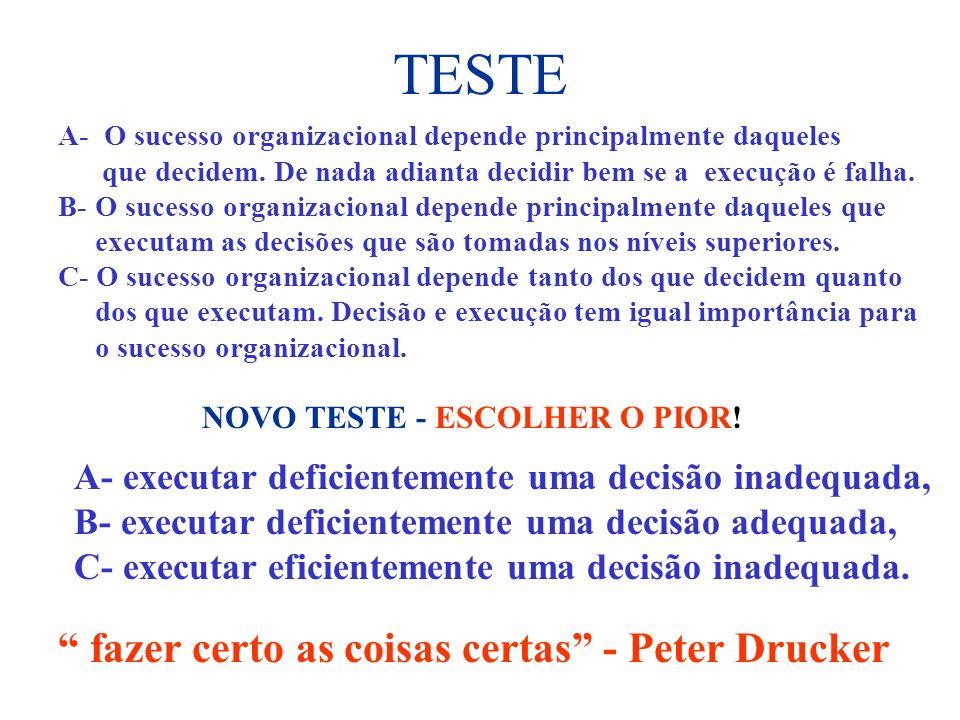 TESTE A- O sucesso organizacional depende principalmente daqueles que decidem. De nada adianta decidir bem se a execução é falha. B- O sucesso organiz