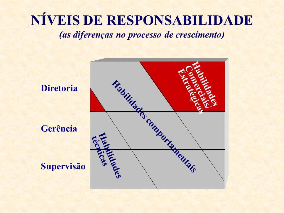 NÍVEIS DE RESPONSABILIDADE (as diferenças no processo de crescimento) Supervisão Diretoria Habilidades comportamentais Habilidades Comerciais/ Estraté