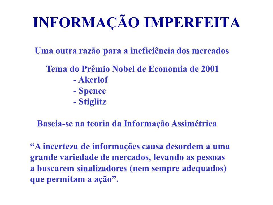 INFORMAÇÃO IMPERFEITA Uma outra razão para a ineficiência dos mercados Tema do Prêmio Nobel de Economia de 2001 - Akerlof - Spence - Stiglitz Baseia-s
