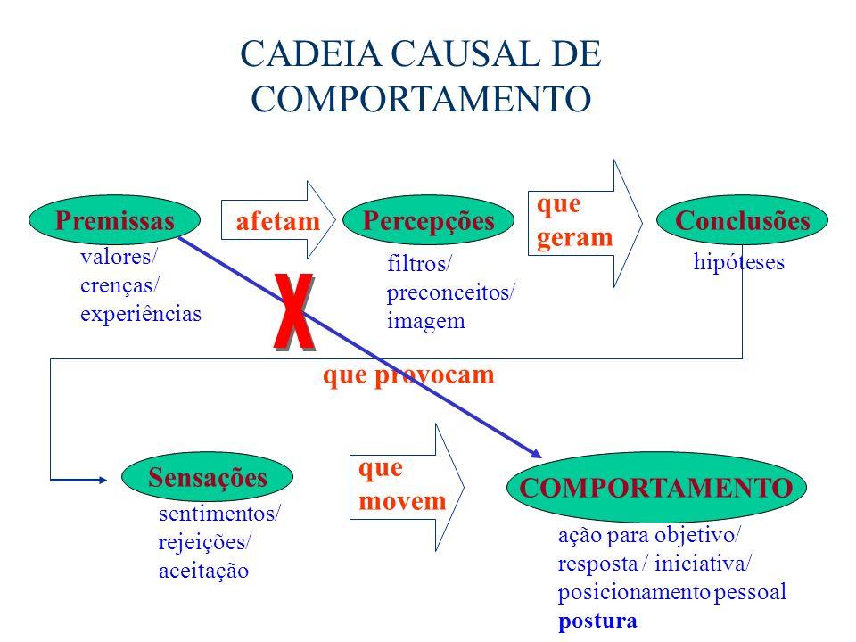 CADEIA CAUSAL DE COMPORTAMENTO PremissasConclusõesPercepções COMPORTAMENTO Sensações afetam que geram que provocam que movem valores/ crenças/ experiê