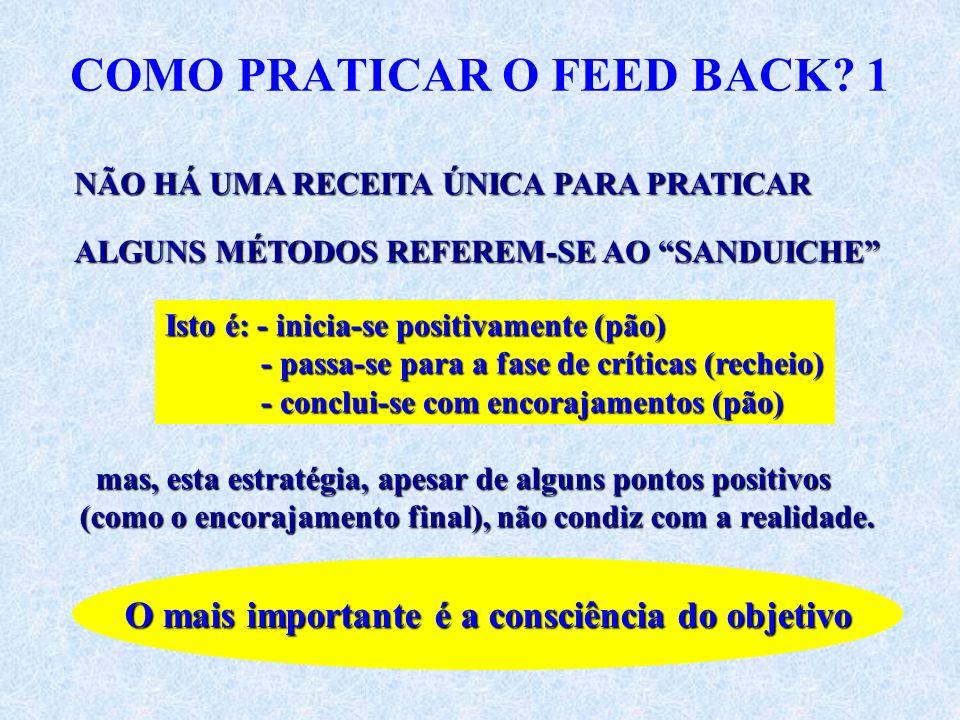 COMO PRATICAR O FEED BACK? 1 NÃO HÁ UMA RECEITA ÚNICA PARA PRATICAR ALGUNS MÉTODOS REFEREM-SE AO SANDUICHE Isto é: - inicia-se positivamente (pão) - p