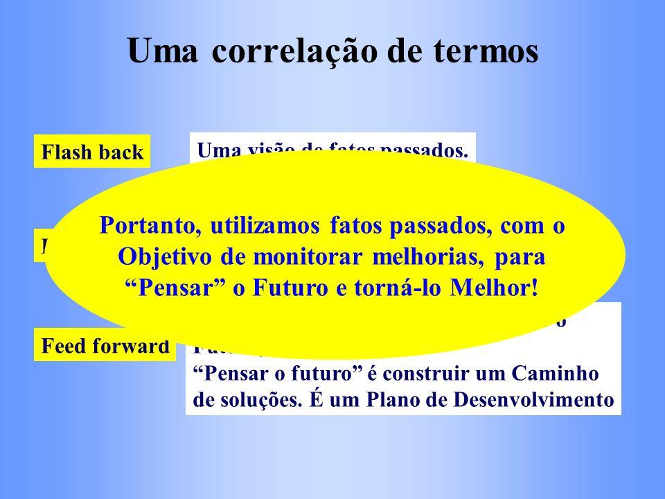 Uma correlação de termos Flash back Feed back Feed forward Uma visão de fatos passados. Monitoramento de necessidades atuais e de melhorias com base n