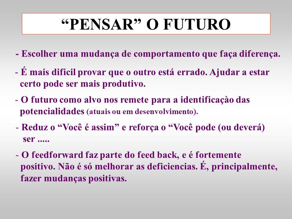PENSAR O FUTURO - Escolher uma mudança de comportamento que faça diferença. - É mais dificil provar que o outro está errado. Ajudar a estar certo pode