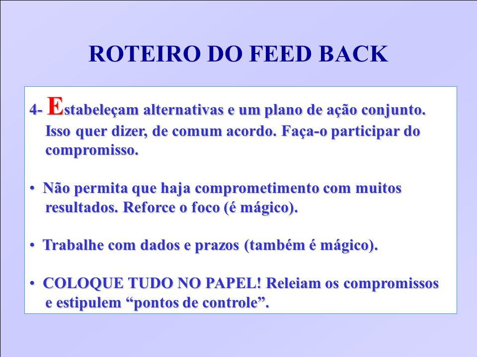 ROTEIRO DO FEED BACK 4- E stabeleçam alternativas e um plano de ação conjunto. Isso quer dizer, de comum acordo. Faça-o participar do Isso quer dizer,