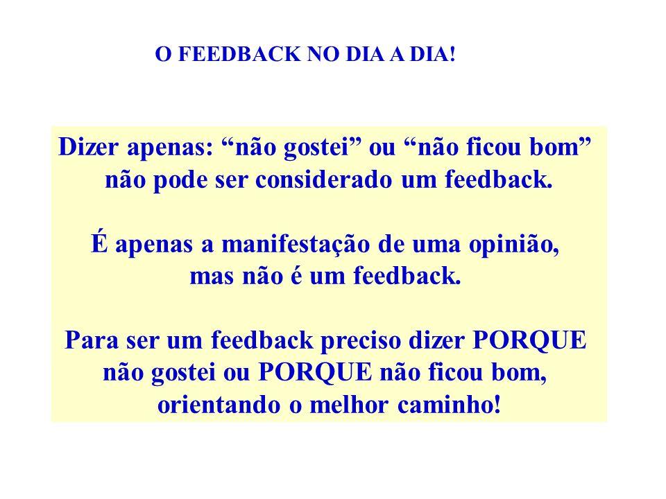 Dizer apenas: não gostei ou não ficou bom não pode ser considerado um feedback. É apenas a manifestação de uma opinião, mas não é um feedback. Para se