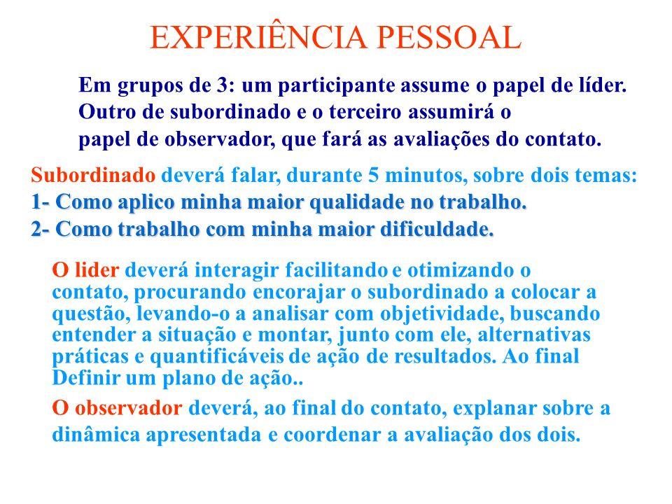 EXPERIÊNCIA PESSOAL Em grupos de 3: um participante assume o papel de líder. Outro de subordinado e o terceiro assumirá o papel de observador, que far