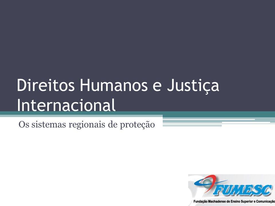 Sistemas EUROPEU: Convenção Europeia de Direitos Humanos (1950); INTERAMERICANO: Convenção Americana de Direitos Humanos (69); AFRICANO: Carta Africana dos Direitos Humanos e dos Povos (1981).