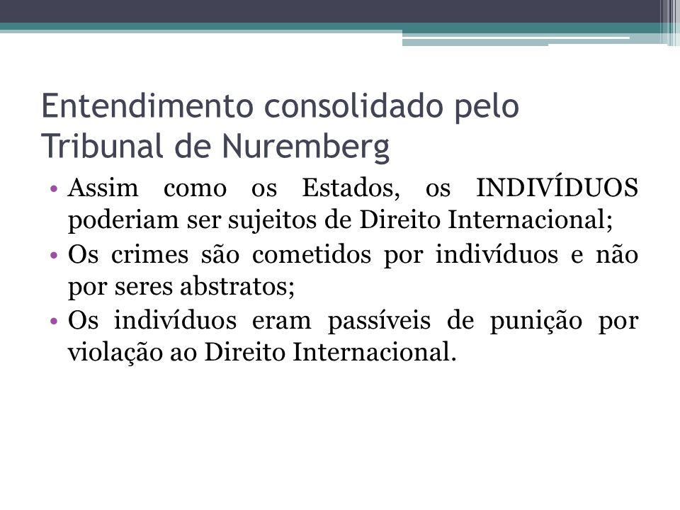 Entendimento consolidado pelo Tribunal de Nuremberg Assim como os Estados, os INDIVÍDUOS poderiam ser sujeitos de Direito Internacional; Os crimes são