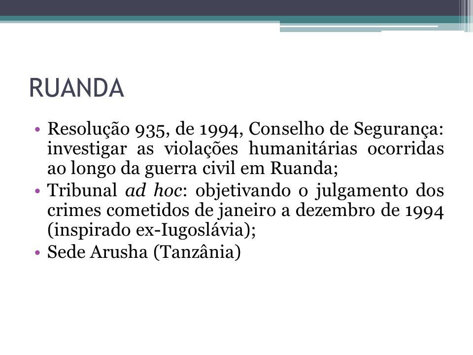 RUANDA Resolução 935, de 1994, Conselho de Segurança: investigar as violações humanitárias ocorridas ao longo da guerra civil em Ruanda; Tribunal ad h