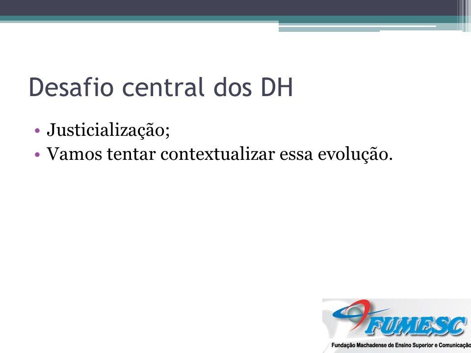 Desafio central dos DH Justicialização; Vamos tentar contextualizar essa evolução.