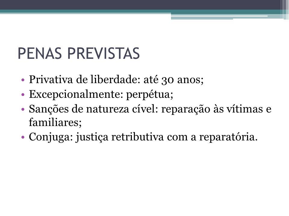 PENAS PREVISTAS Privativa de liberdade: até 30 anos; Excepcionalmente: perpétua; Sanções de natureza cível: reparação às vítimas e familiares; Conjuga
