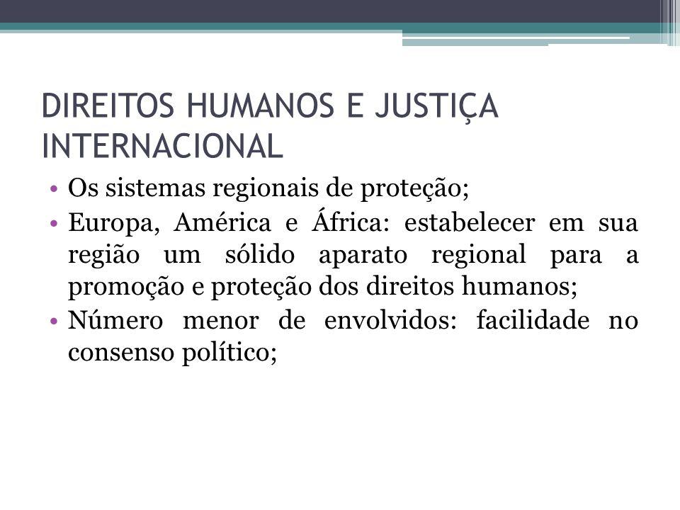 DIREITOS HUMANOS E JUSTIÇA INTERNACIONAL Os sistemas regionais de proteção; Europa, América e África: estabelecer em sua região um sólido aparato regi