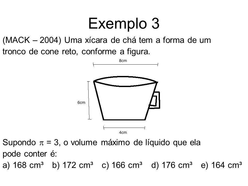 Exemplo 3 (MACK – 2004) Uma xícara de chá tem a forma de um tronco de cone reto, conforme a figura. Supondo = 3, o volume máximo de líquido que ela po