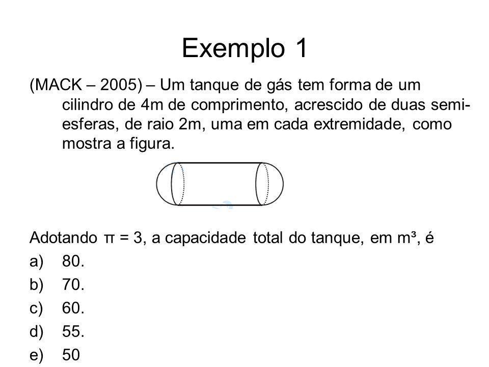 Exemplo 1 (MACK – 2005) – Um tanque de gás tem forma de um cilindro de 4m de comprimento, acrescido de duas semi- esferas, de raio 2m, uma em cada ext