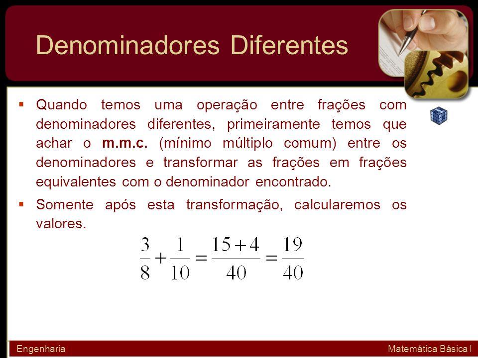 Denominadores Diferentes Quando temos uma operação entre frações com denominadores diferentes, primeiramente temos que achar o m.m.c. (mínimo múltiplo