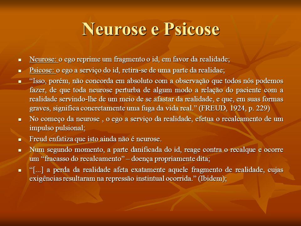 Neurose e Psicose Neurose: o ego reprime um fragmento o id, em favor da realidade; Neurose: o ego reprime um fragmento o id, em favor da realidade; Ps