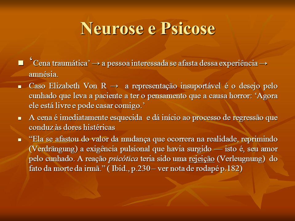 Neurose e Psicose Na psicose, num primeiro momento, o ego é arrastado para longe da realidade e, no segundo estágio, para compensar a perda da realidade (mas não às custas de uma restrição do id), acontece a criação de uma nova realidade; Na psicose, num primeiro momento, o ego é arrastado para longe da realidade e, no segundo estágio, para compensar a perda da realidade (mas não às custas de uma restrição do id), acontece a criação de uma nova realidade; Tanto a neurose quanto a psicose são, pois, expressão da rebeldia do id contra o mundo externo, de seu desprazer ou[...] de sua incapacidade de adequar-se à necessidade real.