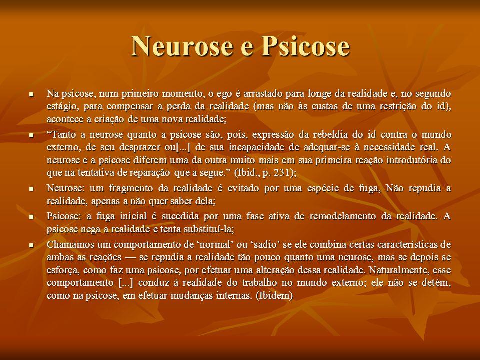 Neurose e Psicose Na psicose, num primeiro momento, o ego é arrastado para longe da realidade e, no segundo estágio, para compensar a perda da realida